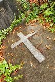 Cross on grave Royalty Free Stock Photo