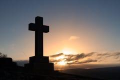 Cross Gravestone Silhouette Stock Images