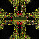 Cross green shinny background floral pattern Royalty Free Stock Image