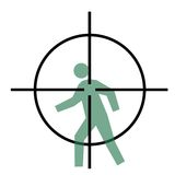 Cross hairs and human target. Sniper rifle cross hairs over moving person, isolated on white background Stock Image