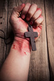 Cross in hand Royalty Free Stock Photography