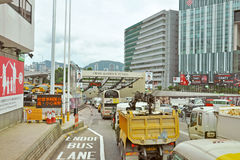 The Cross Harbour Tunnel. HONG KONG - JUNE 21: Vehicles are crossing from Hongkong Island to Kowloon on June 21, 2013 in Hong Kong. The Cross-Harbour Tunnel is stock photo