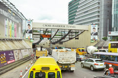The Cross Harbour Tunnel. HONG KONG - JUNE 21: Vehicles are crossing from Hongkong Island to Kowloon on June 21, 2013 in Hong Kong. The Cross-Harbour Tunnel is royalty free stock photos