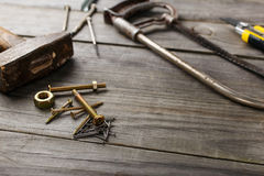 Cross head bolt screws thread with nails Stock Images
