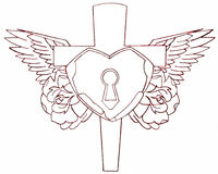 Cross heart. Cross with heart padlock details wings roses switch blade tattoo design stencil drawing would look great any place on the body Royalty Free Stock Photo