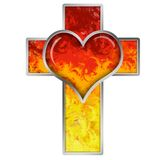 Cross with heart Stock Images