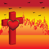 Cross and heart. Abstract colorful illustration with burning fire, black crows flying, red cross and red heart shape Stock Photo