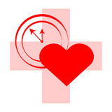 Cross with heart and clock on red background. Vector illustartion.  Royalty Free Stock Photo