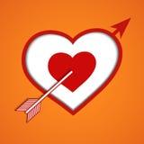 Cross heart. Red cross heart with orange background Vector Illustration