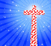 Cross with heart Stock Image
