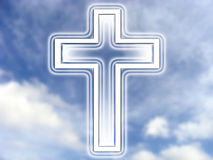 Cross and heaven. White cross symbol isolated over blue cloudy sky Stock Photography