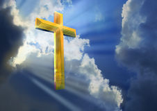 Cross in Heavenly Sky. Combination of 3D render with sky photograph vector illustration