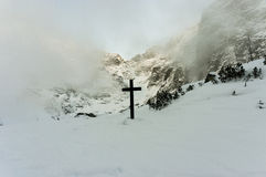 Cross in the High Tatras near Black Pond under Rysy Stock Images