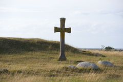 Cross on hill. A stone cross erected on a hill Stock Image