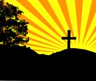 Cross on Hill. Image of tree and cross on hill with sunburst background vector illustration
