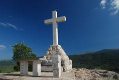 Cross on the hill above Stari Grad Stock Photos
