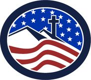 Cross on Hill American Flag Circle Stock Photography