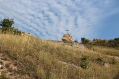 Cross on a hill. A cross on a hill at Budaors, Hungary Royalty Free Stock Photo