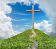 Cross on hill Stock Image