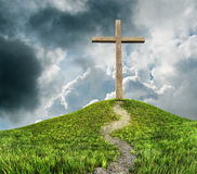 Cross on hill Royalty Free Stock Photography