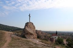 Cross on a hill. A cross on a hill at Budaors, Hungary Royalty Free Stock Photos