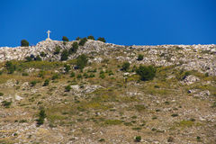Cross on Hill in Dubrovnik, Croatia Stock Images
