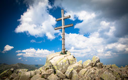 Cross on the hill Dumbier at Slovakia Stock Image