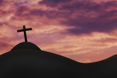 Cross on a hill and the holy sky Stock Photo