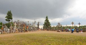 Cross hill before in rain time, Lithuania Royalty Free Stock Photography