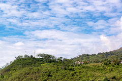Cross on Hill in San Gil. Large white cross on a hill overlooking San Gil, Colombia Royalty Free Stock Image