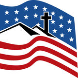 cross on hill with stars stripes Royalty Free Stock Photo
