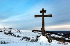 Cross on hill in winter Stock Photography