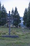 Cross on hillside, Apuseni Mountains, Romania Royalty Free Stock Photo