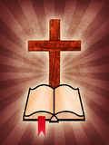 Cross and Holy Bible. A wooden cross with a Holy Bible on a burst background royalty free illustration