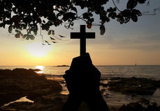 Cross holy and prayed stock image