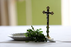 Cross and holy water Royalty Free Stock Images