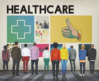 Cross Hospital Treatment Health Cure Concept. Diverse People Standing Cross Hospital Treatment Health Cure stock images