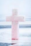 Cross from ice Epiphany Stock Photos