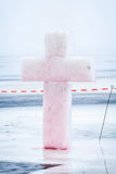 Cross from ice Epiphany Stock Images