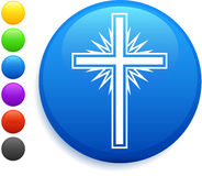 Cross icon on round internet button Stock Photography
