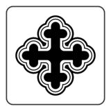 Cross icon on white background. Cross icon. Traditional religion ornate symbol. Black silhouette sign isolated on White background. Monochrome design element vector illustration