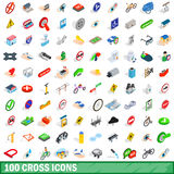 100 cross icons set, isometric 3d style. 100 cross icons set in isometric 3d style for any design vector illustration Royalty Free Stock Images