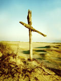 Cross, II. Wooden cross in the dune royalty free stock image