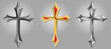 Cross. Illustration of the gold, silver, normal cross Royalty Free Stock Photography