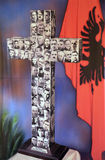 Cross with images murdered priests during the communist regime in Albania. St Paul`s Cathedral in Tirana, Albania Stock Images