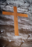 Cross inside church wall Royalty Free Stock Image