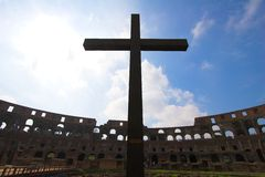 Cross inside of Colosseum Stock Photography