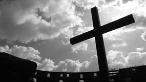 Cross inside the Colosseum of Rome Royalty Free Stock Photo