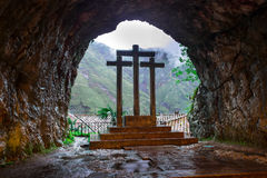 Cross inside the Holy Cave of Covadonga II Royalty Free Stock Photos