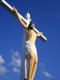Cross of jesus. Blue sun shine cross of jesus Stock Images